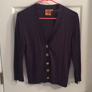 Tory BurchNavy Cardigan with Gold Buttons